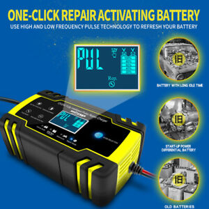 Us Intelligent Car Battery Charger Automatic Pulse Repair Starter 12v 24v 8a 4a