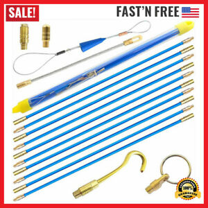 Fish Tape Wire Puller Kit 33 Blue Fiberglass Running Rod Coaxial Electrical