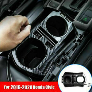 For 2016 2020 Honda Civic Carbon Fiber Interior Console Storage Box Trim W Usb