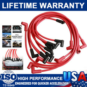 4048 8mm Red Spark Plugs Wires For Small Block Chevy 283 307 327 350 400 Hei Sbc