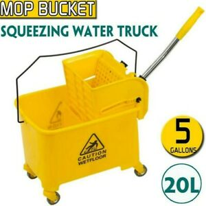 Mop Bucket W wringer Combo 5 Gallon Commercial Home Rolling Cleaning Cart Yellow
