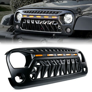Xprite Black Venom Grille W Amber Led Running Lights For 07 18 Jeep Wrangler Jk