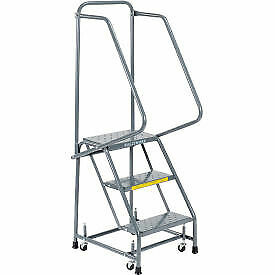 Perforated 16 w 3 Step Steel Rolling Ladder 10 d Top Step H318p H318p 1