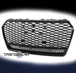 Front Mesh Rs7 Style Grille Grill Glossy Black For 2016 2018 Audi A7 Quattro S7