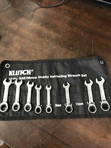 Klutch 8pc Stubby Ratcheting Wrench Set Sae Metric Used Condition Cn255