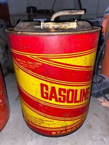 Vintage Round Metal Stancan 5 Gallon Gas Can