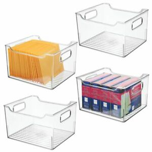 Mdesign Plastic Storage Organizer Bin Container Desk Organizer 4 Pack Clear
