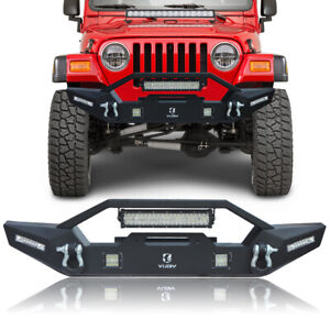 Vijay Front Bumper Tj With Winch Plate Led Lights For 1997 2006 Jeep Wrangler Tj
