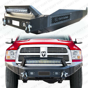 Vijay Black Texture Front Bumper With Winch Plate For 13 18 Dodge Ram 1500