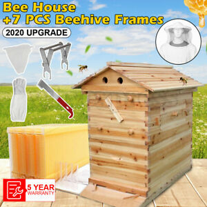 Beekeeping Wooden House Beehive Boxes 7pc Auto Beehive Frame Comb Bee Hive Boxes