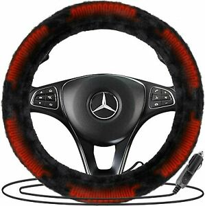Zone Tech Car 12v Plush Faux Sheepskin Heated Warm Steering Wheel Cover Protects