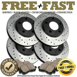 H0974 Front rear Black Brake Rotors Pads For 2001 2002 2003 Mustang Cobra Mach 1