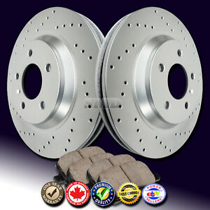 Z0326 Fit 1996 1997 Ford Mustang Cobra V8 Front Drilled Brake Rotors Ceramic Pad