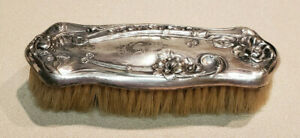 Victorian Vanity Bristle Brush W S P Wilcox Floral Silver Plate Co Hairbrush