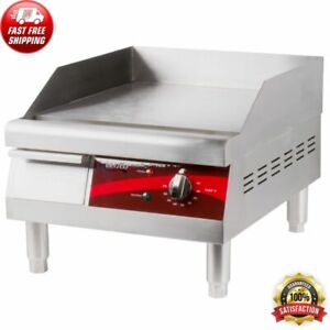 16 Electric Countertop Stainless Steel Housing Flat Top Griddle 120v 1750w