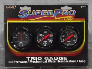 Super Pro 2 Inch Mechanical Triple Gauge Kit Black Black Bezel 5045