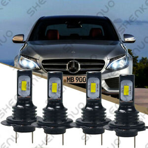 For Mercedes Benz C250 C300 C350 4x Front Led Headlight Kit Hi Lo Beam Bulbs