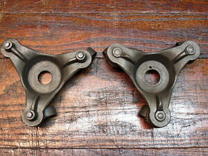 2 Vintage Cast Iron Dollies With Swivel Caster Wheels