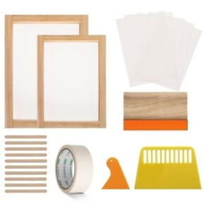 21 Pieces Screen Printing Starter Kit 10 X 14 Inch And 8 X 12 Inch Wood Silk Sc