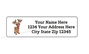 80 Rudolph Christmas Personalized Return Address Labels 1 2 In X 1 3 4 In