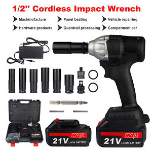 3in1 Cordless Electric Impact Wrench Gun 1 2 800nm Driver Drill W 2 Batteries
