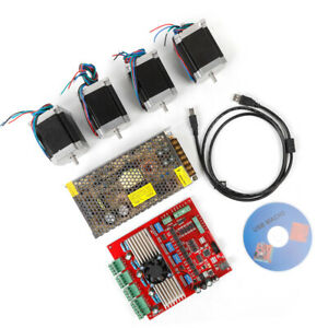 200w 24v Cnc 4axis Usb Nema23 Stepper Motor Driver Board Controller Kit Cable cd