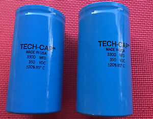 Tech cap Capacitor 3300 Mfd 350 Vdc 20 85 C Usa New Large Can Pair New Nos