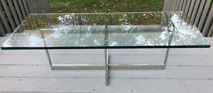 Vintage Chrome Glass Top Coffee Table Space Age Mid Century Danish Modern Mcm