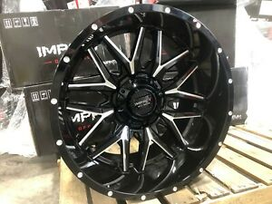 4 New Impact Off Road 819 Gloss Black Milled 22x12 6x5 5 Chevy Gmc Ford 6x135