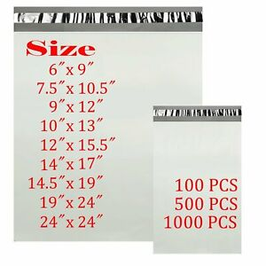 1000 Pcs 6x9 9x12 10x13 14x17 Poly Mailers Shipping Envelopes Self Sealing Bags