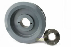 Cast Iron 6 5 2 Groove Dual Belt B Section 5l Pulley With 1 3 8 sheave Bushing
