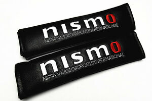 2pcs Nismo Black Leather Auto Car Seat Belt Cover Cushion Protect Shoulder Pads