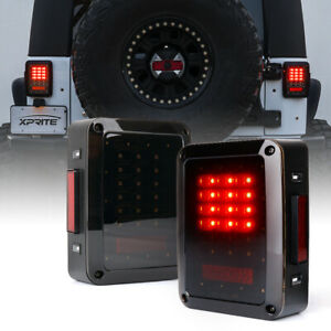 Xprite 1pair Led Tail Lights Brake W Smoke Lens For Jeep Wrangler Jk Jku 07 18