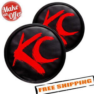 Kc Hilites 5110 6 Round Black Vinyl Light Covers With Red Brushed Kc Logo