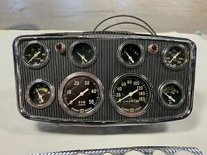 Stewart Warner Hollywood Dash Panel 8 Gauges Roadster Scta Vintage Hotrod Street