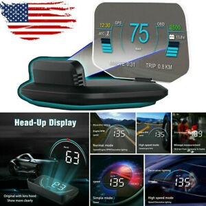 Hud Obd2 Head Up Display Car Gps System Speedometer Projector Mileage Diagnostic