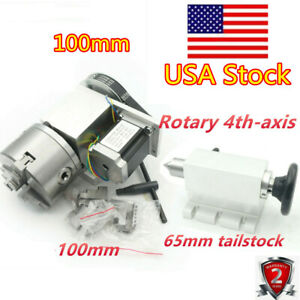 Cnc A axis 4th axis Router Rotational Rotary Axis 3 jaw 100mm tailstock