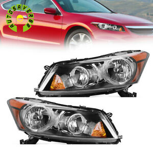 Headlight Assembly For 2008 2012 Honda Accord 4 door Sedan Black Headlamps Pair