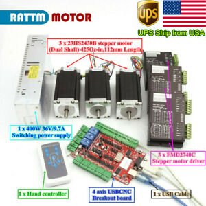 in Usa usb Cnc Controller Kit 3 Axis Nema23 Stepper Motor 425oz in driver power