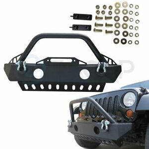 Rock Crawler Front Bumper W Fog Lights Holes For 07 18 Jeep Wrangler Bolt On