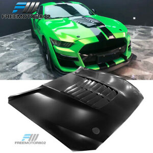 Fits 15 17 Ford Mustang Gt500 Style Black Front Hood Aluminum
