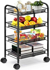 Pipishell 4 tier Mesh Wire Rolling Cart Multifunction Utility Metal