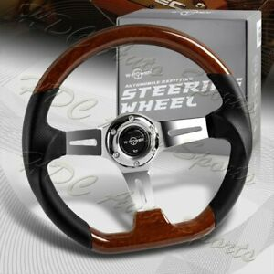 W power 13 5 Dark Wood Grip 6 hole Chrome 3 spoke Vintage 343mm Steering Wheel