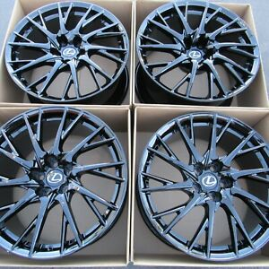 19 Lexus Rcf Forged Factory Original Wheels Rims New Gloss Black Staggered