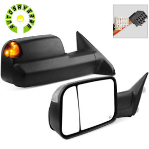 Lh Rh Power Heated Tow Mirrors For 2009 2015 Dodge Ram Truck W Led Turn Signal