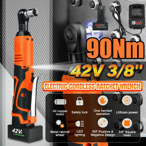 3 8 42v Electric Cordless Ratchet Right Angle Led Wrench Impact 2 Battery