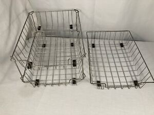 Vintage Industrial Metal Wire Desk Basket Tray 3 With 1 Set Stackers Supports