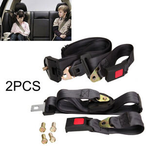 2x 3 Point Car Seat Belt Lap Safety Travel Adjustable Retractable Auto Universal