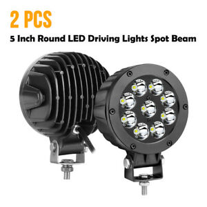 Pair 5 90w Cree Round Led Driving Spot Pods Work Lights Bar Bumper Off Road Atv