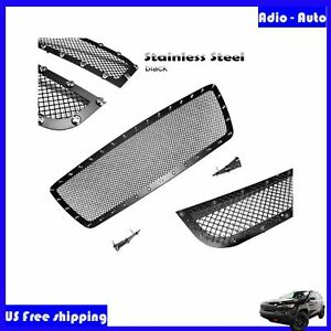 3pcs Black Mesh Grille Upper Grill With Rivet Insert Fit Toyota Tacoma 2005 2010